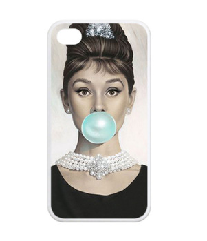 Kryt Audrey Hepburn Blue Bubble (bílý) na Iphone 5/5S